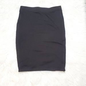 F21+ Black Pencil Skirt With Zippers On Sides XL